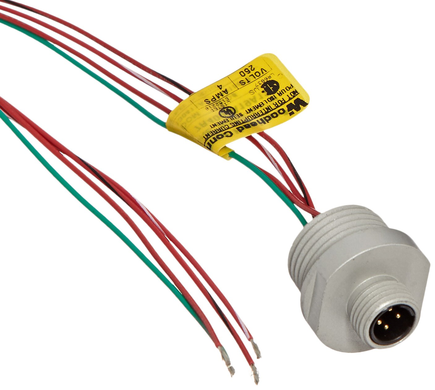 Brad 7R4006A19A120 Micro-Change Dual Key Receptacle, Male Straight, 1/2''-14NPT Mounting Thread Size, 4 Pole, UL1061 Cable Type, PVC Cable Jacket, 22AWG Wire Size, 4.0A Max Current Rating, 250V AC/DC Max Voltage, 12'' Cable Length, Front Panel Mount (Pack o