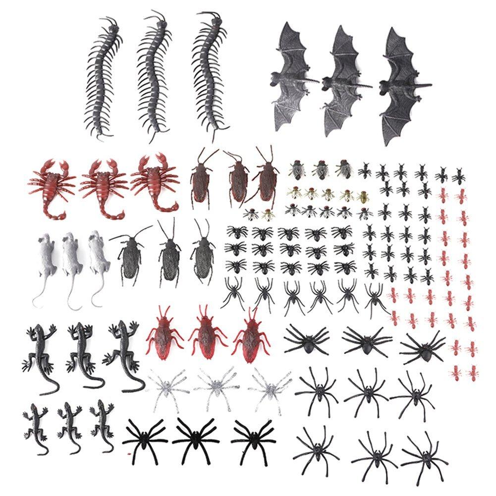 MLJ 150 Pièces Halloween réalistes Insectes en plastique Araignées, Scorpions, fourmis, Geckos, mille-pattes, souris, mouches, chauves-souris en Plastique Favors de Fêtes pour les Décorations Halloween