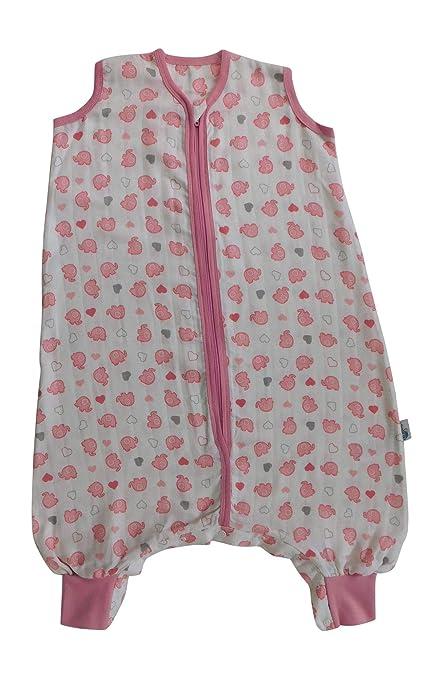 Slumbersac Saco de dormir de verano con pies 0.5 Tog - Bamboo Muslin Pink Elephant -