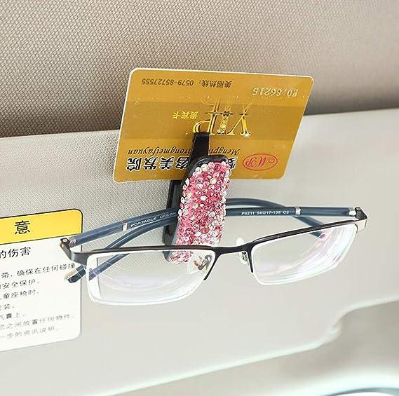 Biluer 3pcs Auto Brillenhalter Auto Sonnenblende Auto Brillenetui Diamant Auto Brillenclip Brillen Halter Auto Für Karte Ausweis Münze Aufbewahrungsbox Organizer Auto