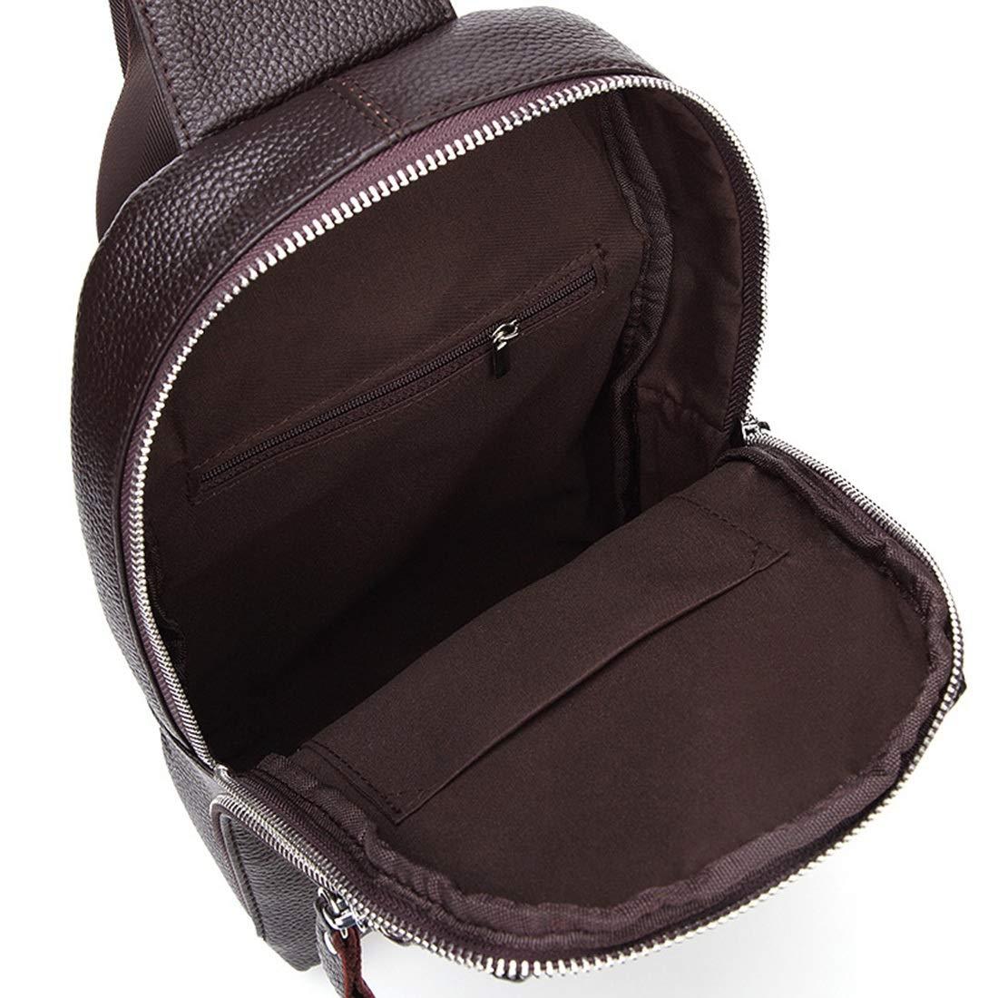 KRPENRIO Genuine Leather Chest Bag Shoulder Sling Backpack Unisex Outdoor Crossbody Sling Pack Sport Daypack
