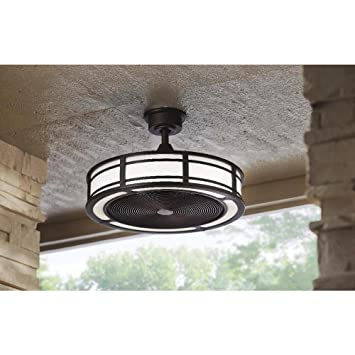 Brette Indoor/Outdoor Ceiling Fan With Two 23W LED Light Strips, 23 Inch,  Espresso Bronze     Amazon.com