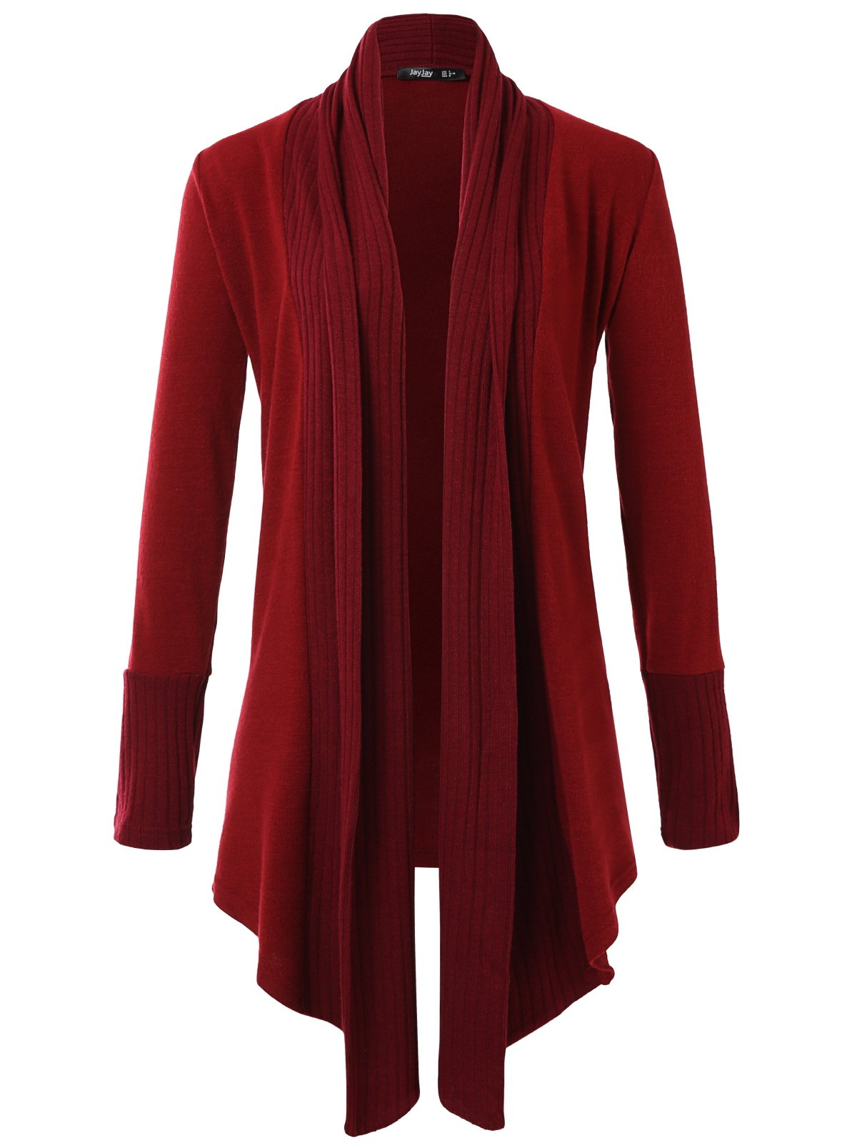 JayJay Women Boyfreind Loose Fit Long Sleeve Open Shawl Long Sweater Cardigan,Wine,2XL