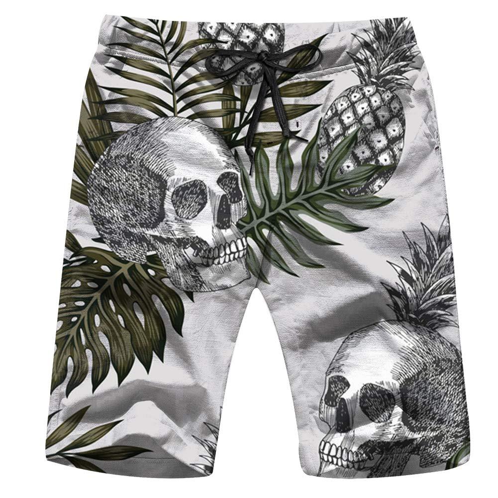 Cool pillow Hand Drawn Ink Skull Pineapple Tropical The Arts Mens Swim Trunks Beach Short Board Shorts