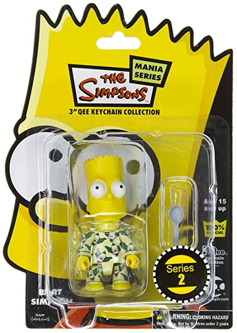 Bart in Krusty Pajamas: The Simpsons / Toy2r Qee Crossover Keychain Collection ~2.75""