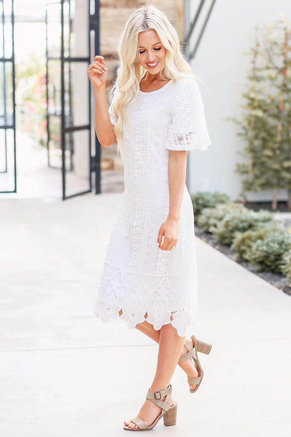 Old Fashioned Dresses | Old Dress Styles Mikarose Womens Nora Modest Crochet Lace Overlay Flutter-Sleeve A-Line Dress $64.99 AT vintagedancer.com