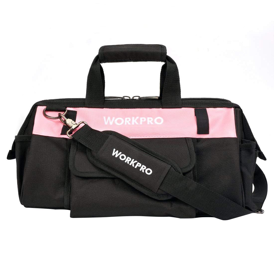 WORKPRO Tool Bag 16-inch Pink Lady Wide Mouth Open Tote Multiple Pockets with Adjustable Shoulder Strap
