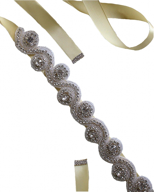 Annie's Bridal Women's Crystal Wedding RIbbons Beading Belts Brides Sashes 22