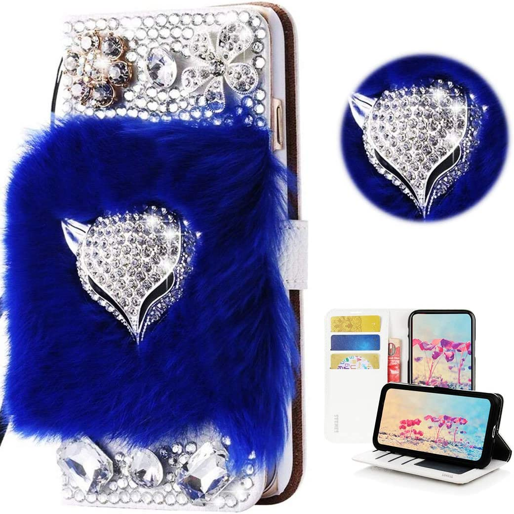 STENES Bling Wallet Phone Case Compatible with iPhone 12 Pro Max Case - Stylish - 3D Handmade Luxury Fox Flowers Design Leather Cover with Screen Protector & Neck Strap Lanyard - Blue