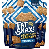 Fat Snax Almond Flour Crackers - Low-Carb and Gluten-Free Keto Crackers with 7g of Healthy Fats - 1-2 Net Carb Keto…
