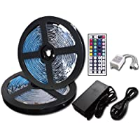 RoLightic Led Strip Lights Kit Waterproof SMD 5050 32.8 Ft (10M) 300LEDs RGB Light Strip with 44key IR Controller and 12V 5A Power Supply for Indoor Home Boats Kitchen Bedroom