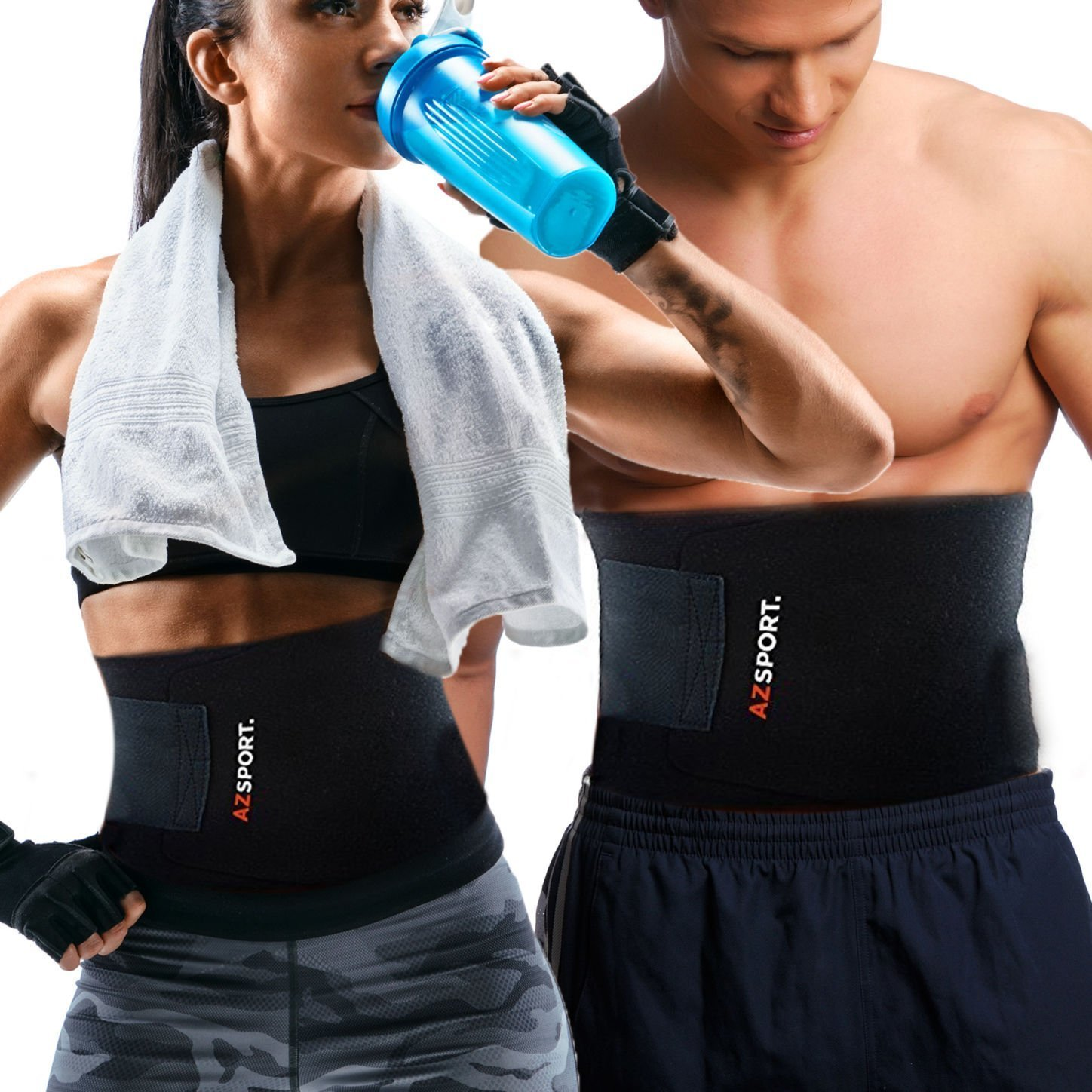 AZSPORT Adjustable Waist Trimmer Ab Sauna Belt
