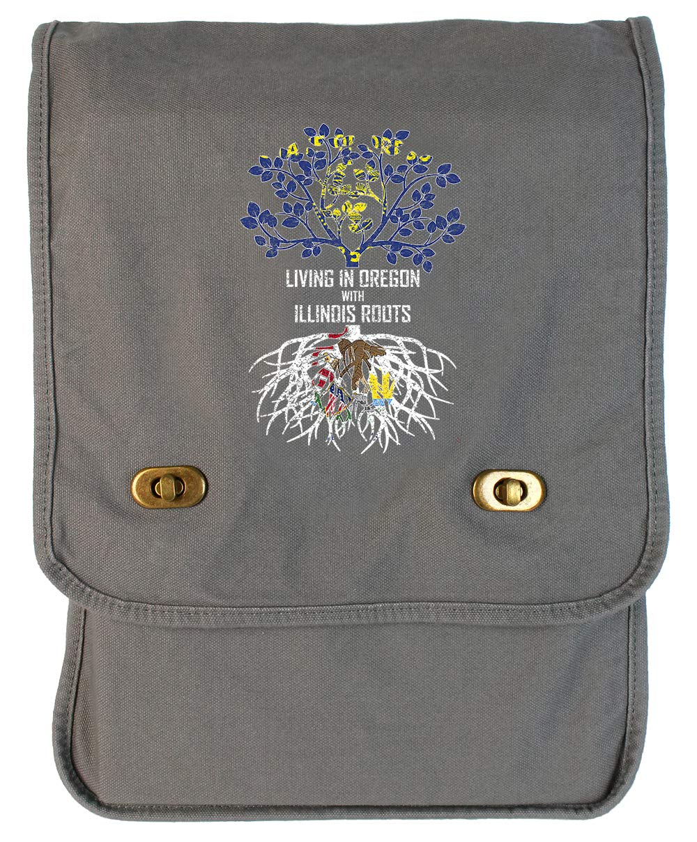 Tenacitee Living In Oregon with Illinois Roots Grey Brushed Canvas Messenger Bag