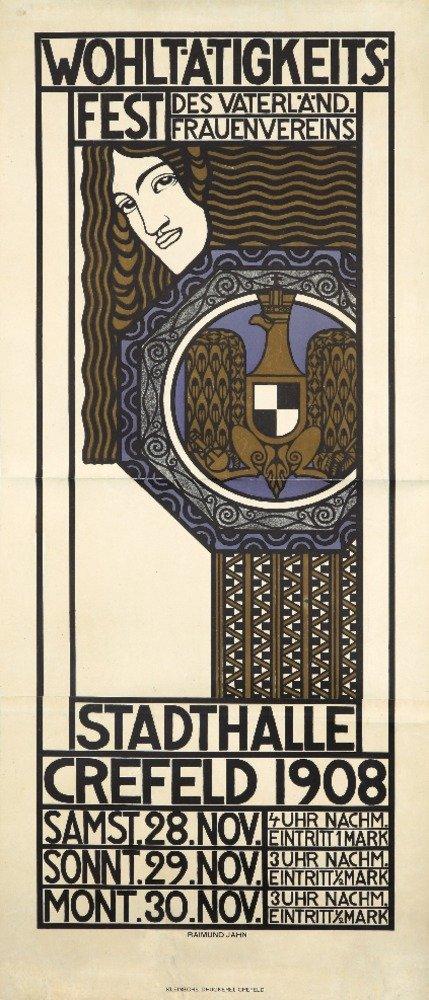 wohltatigkeits-fest – Stadthalle Crefeldヴィンテージポスター(アーティスト: Jahn )ドイツC。1908 36 x 54 Giclee Print LANT-74101-36x54 36 x 54 Giclee Print  B01MPZPWV9