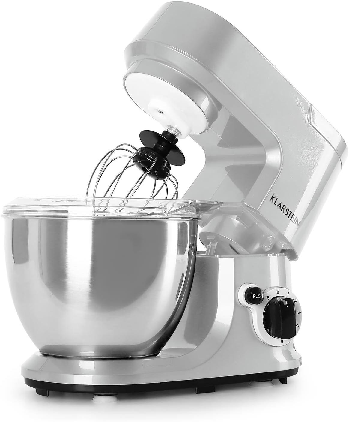 Klarstein Carina Argentea robot de cocina (recipiente de acero inoxidable de 4 litros, 3 accesorios para batir y amasar) - plateado: Amazon.es: Hogar