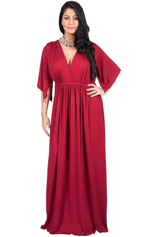 d7d6c940327 Adelyn   Vivian Plus Size Womens Long V-Neck Kaftan Short Sleeve Maxi  Dress  Amazon.com.au  Fashion