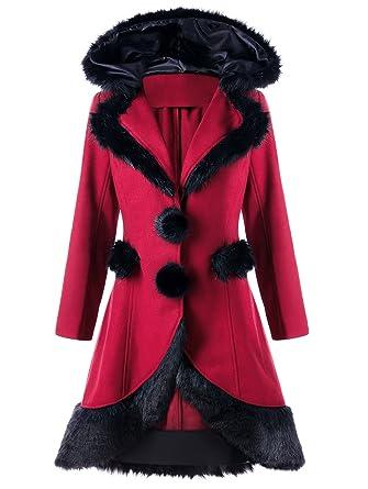 Couture Drap Fausse Yosicil Femme Capuche Coat Trench Parkas Manteau 8wqXqSEf