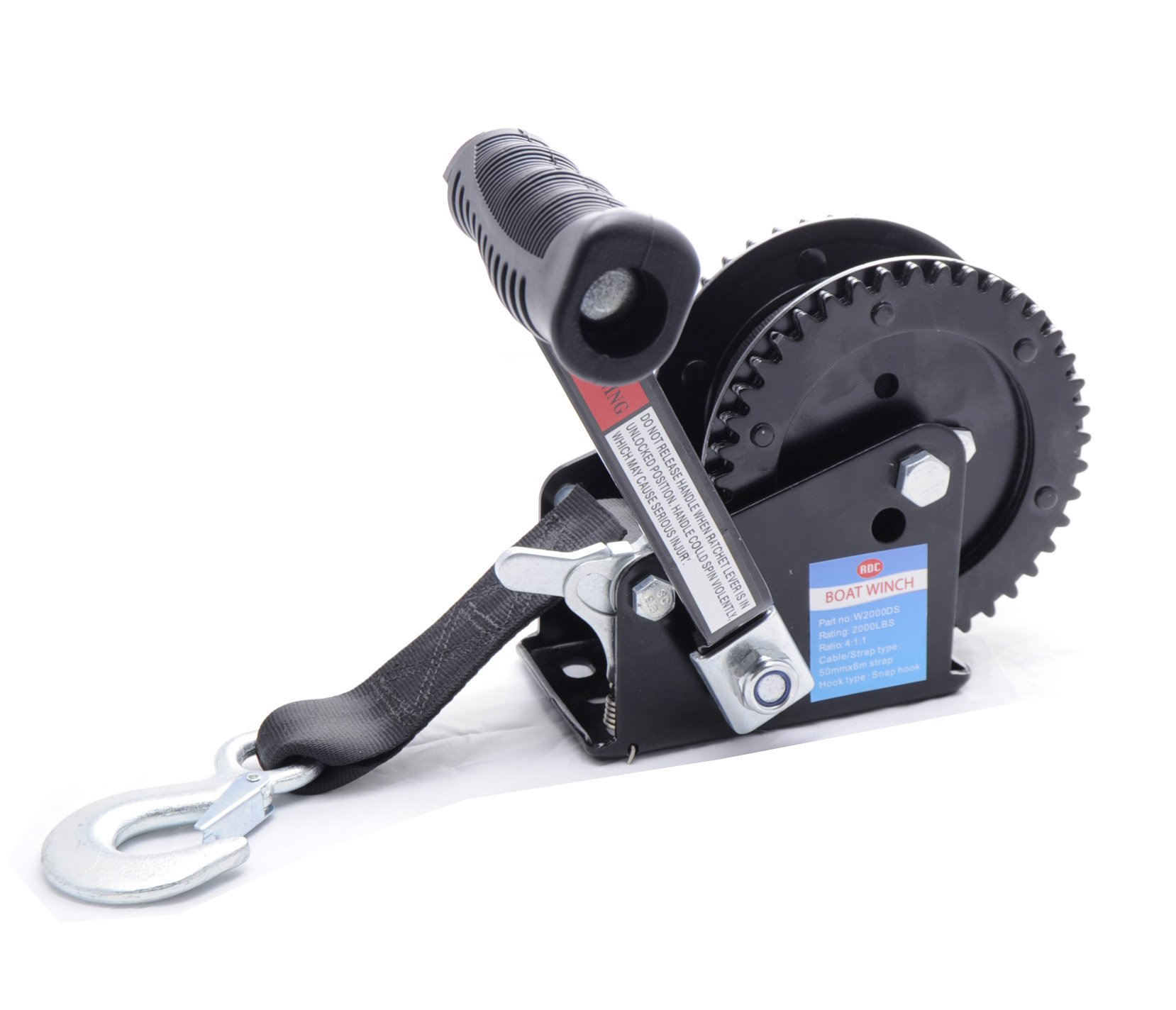 Trailer Winch 2000LB EDC Coated Black Dual Drive Winch with 25-Foot Strap  by Trailer Winch