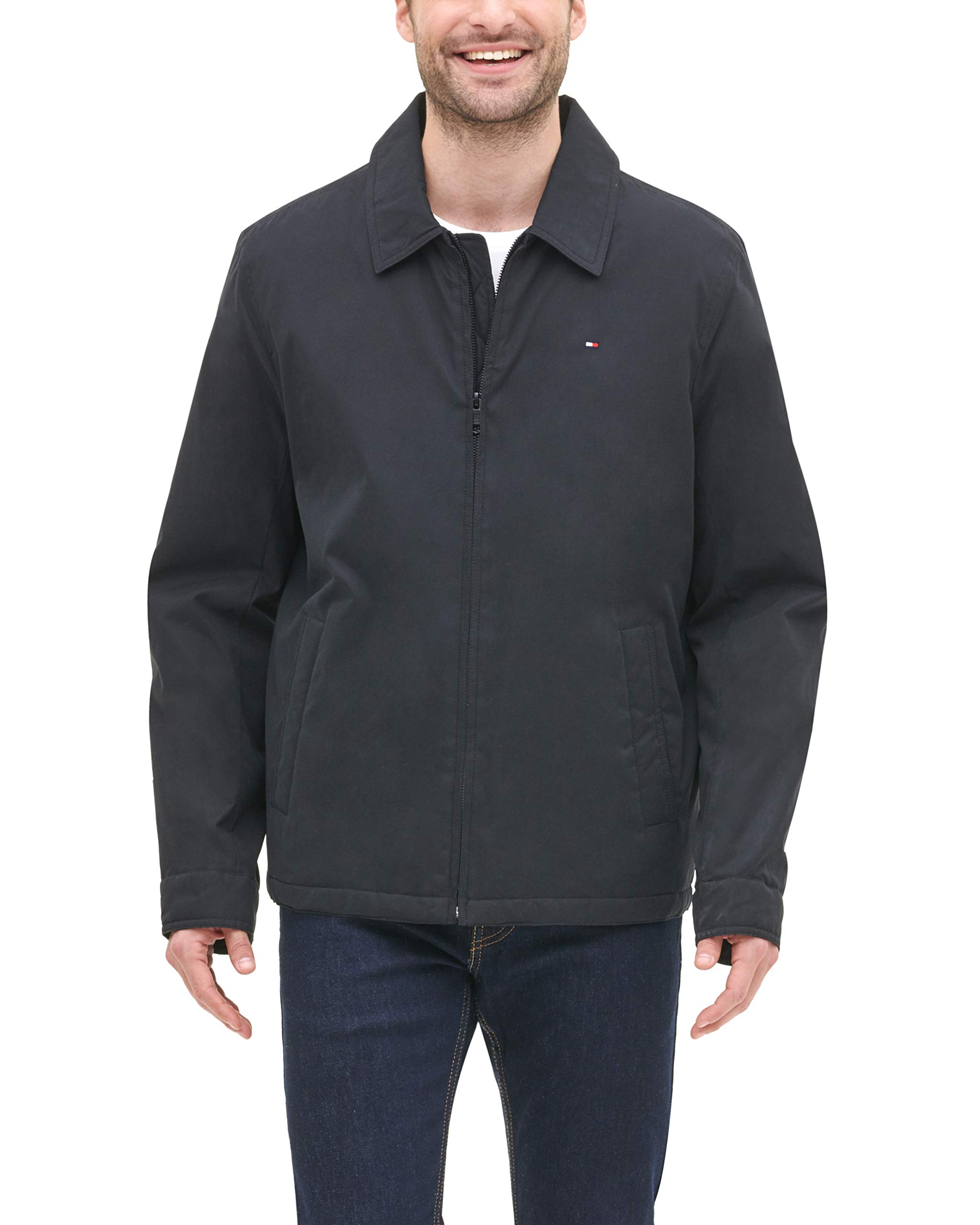 Tommy Hilfiger Men's Micro-Twill Open Bottom Zip Front Jacket, Black, Medium by Tommy Hilfiger