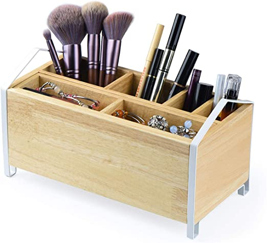 Amazon.com SRIWATANA Makeup Brush Holder,Wood Makeup