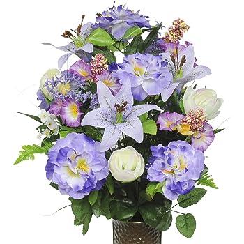Amazon lavender azalea and lily and petunia silk flower bouquet lavender azalea and lily and petunia silk flower bouquet with stay in the mightylinksfo