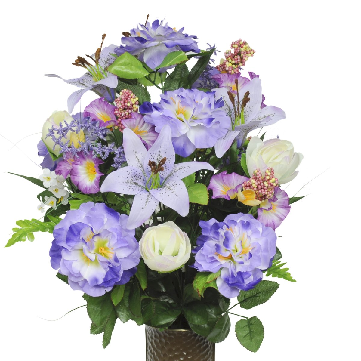 Lavender Azalea and Lily and Petunia Silk Flower Bouquet with Stay-In-The-Vase® Design Flower Holder(SM1305) by Stay-In-The-Vase