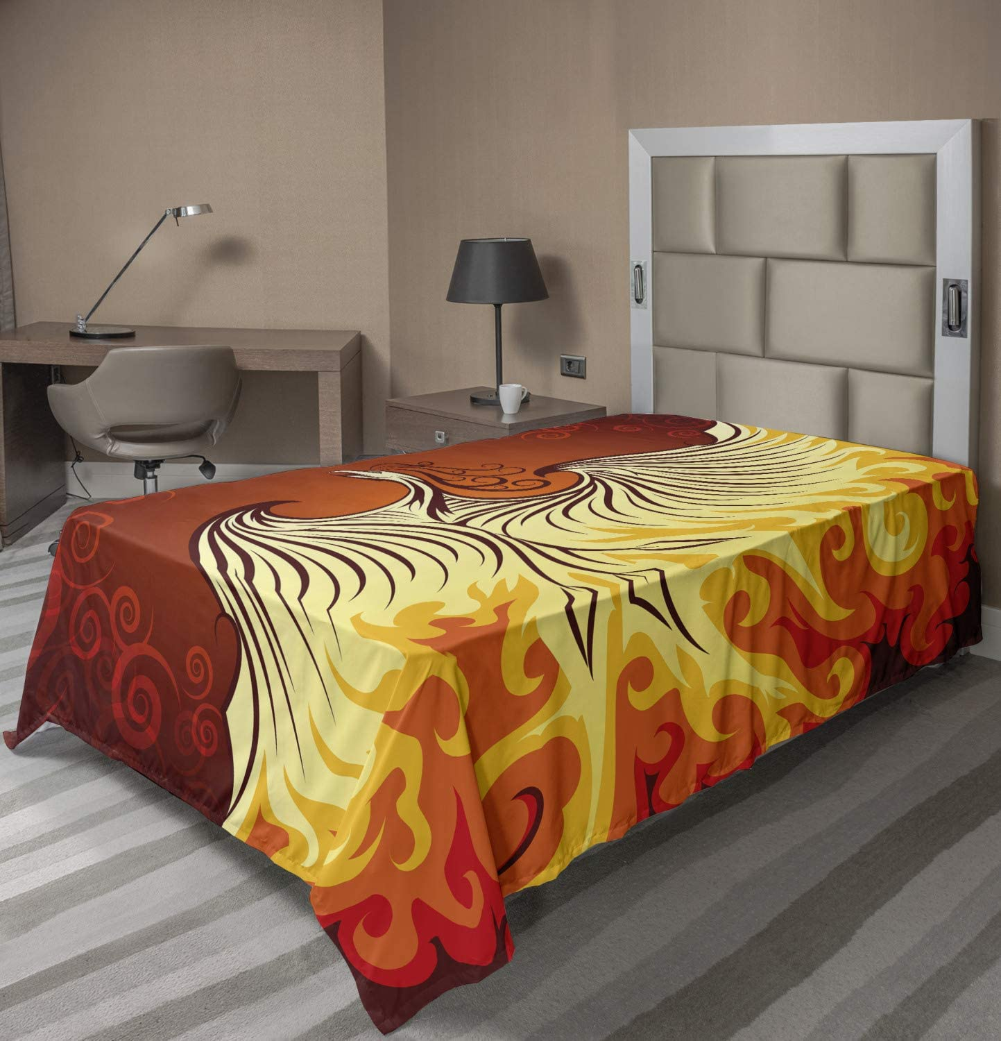 Illustration of Flying Phoenix Bird in The Burning Flame Mythical Creature Print Ambesonne Orange Flat Sheet Twin Size Orange Yellow Soft Comfortable Top Sheet Decorative Bedding 1 Piece