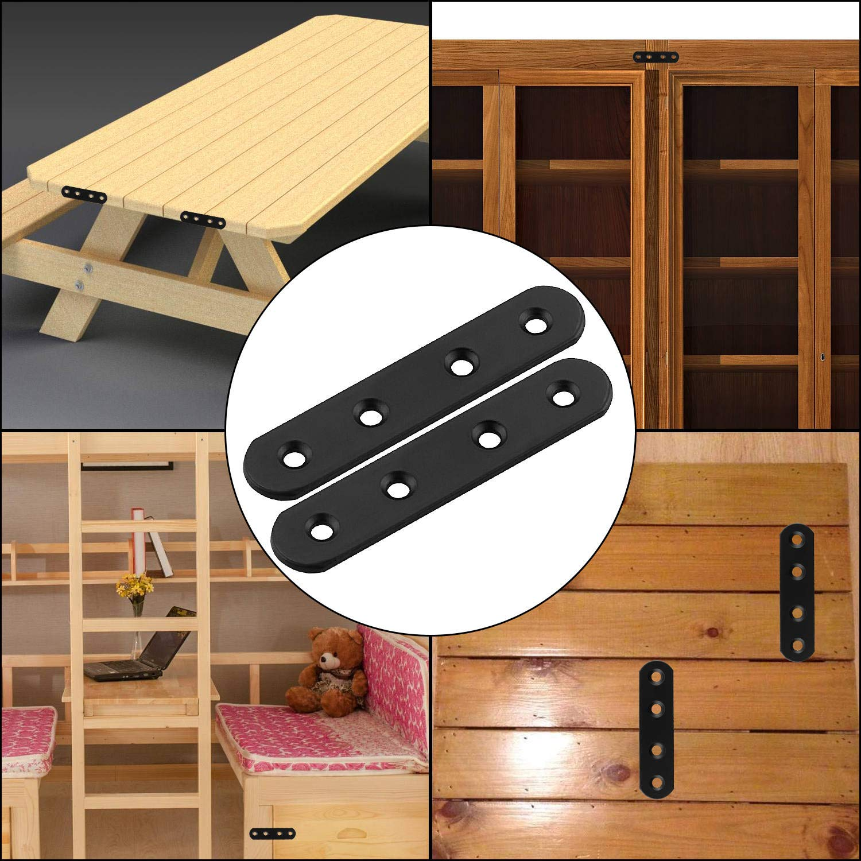 soportes STARVAST 30 soportes de esquina rectos planos de 100 mm de acero inoxidable con placa de uni/ón soporte de reparaci/ón para sillas de madera muebles estanter/ías ventanas