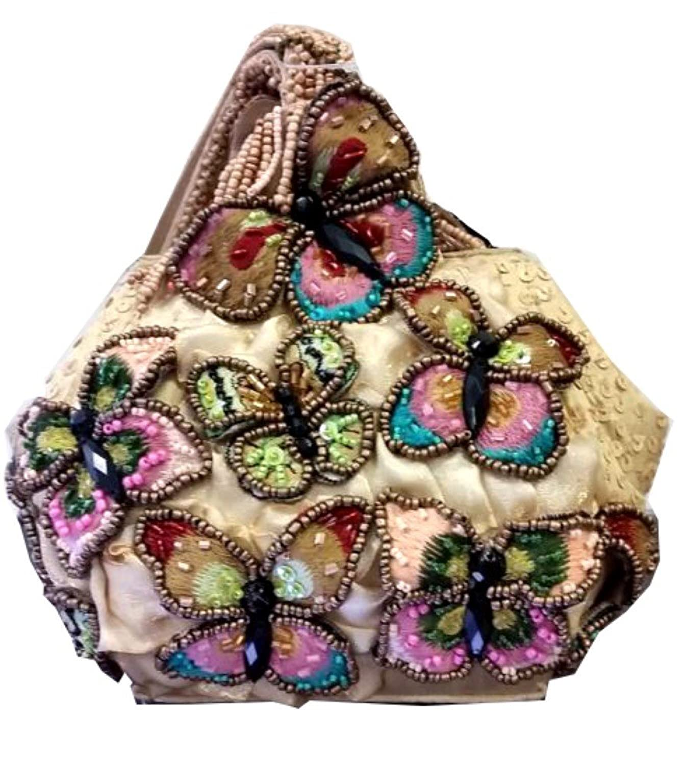 Mary Frances Attraction Beaded Crystal Jeweled Butterfuly Handbag Purse Wristlet
