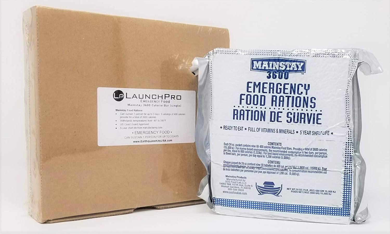 LaunchPro Emergency Food Rations 3600 Calorie Food Bars. OnePack (Single Pack)