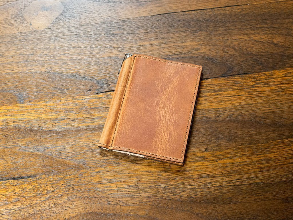 Natural Leather Mini Journal with Pen 3x4 in Horween Leather Cover Extra Small Moleskine Volant Notebook with Pen Holder Refillable Vintage Looking Journal for Men and Women by OleksynPrannyk (Image #2)