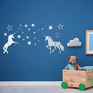 XunFon Unicorn Mirror DIY Wall Stickers Decorations Acrylic Mirrors Decals for Home Living Room Bedroom Wall Art Aesthetic,Cute Kids Room Decor for Teen Girls(Silver)