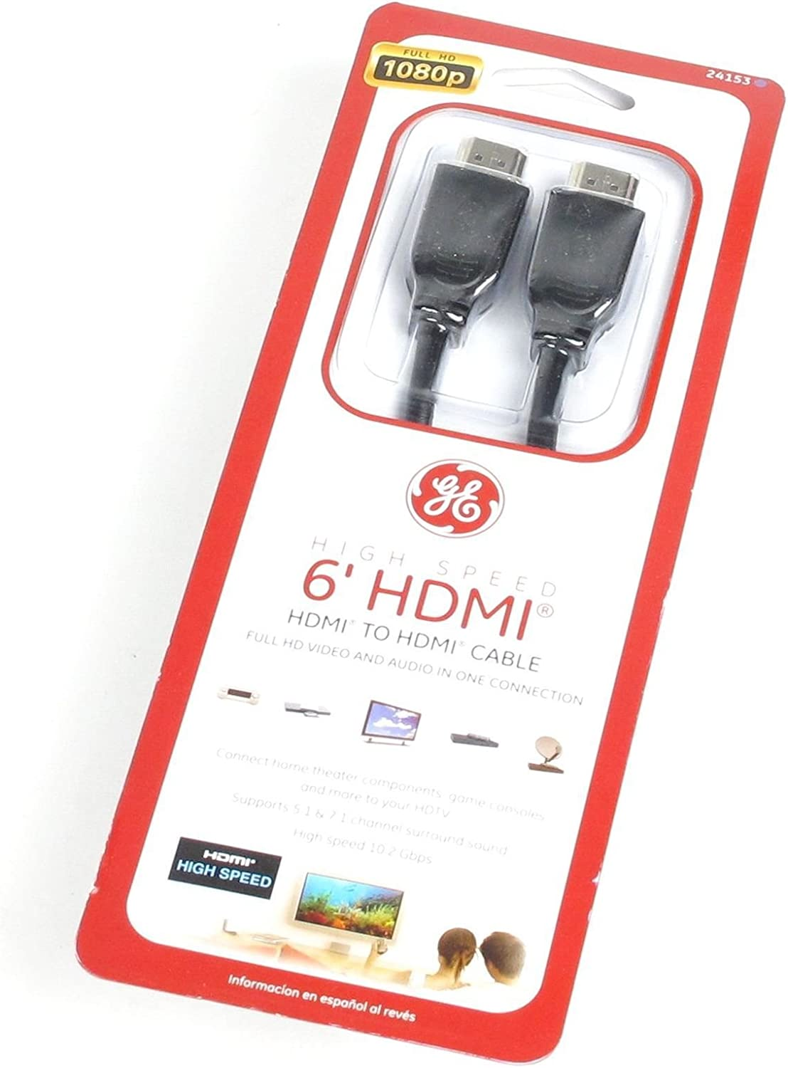 GE High Speed 6-ft. HDMI Cable, Black - 24153