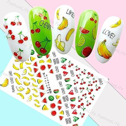 Arte de uñas: Calcomanías y autoadherentes Calcomanía Transferible con Agua Frutas Pegatina Tatuaje para Uñas. Pasa ...