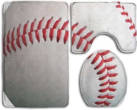 Baseball Bathroom-Baseball Bath Mat-Shower Curtain Combo-Padded Floor Mat-Microfiber Mat-Kids Bathroom-Baseball Decor-Bathroom Floor Mat