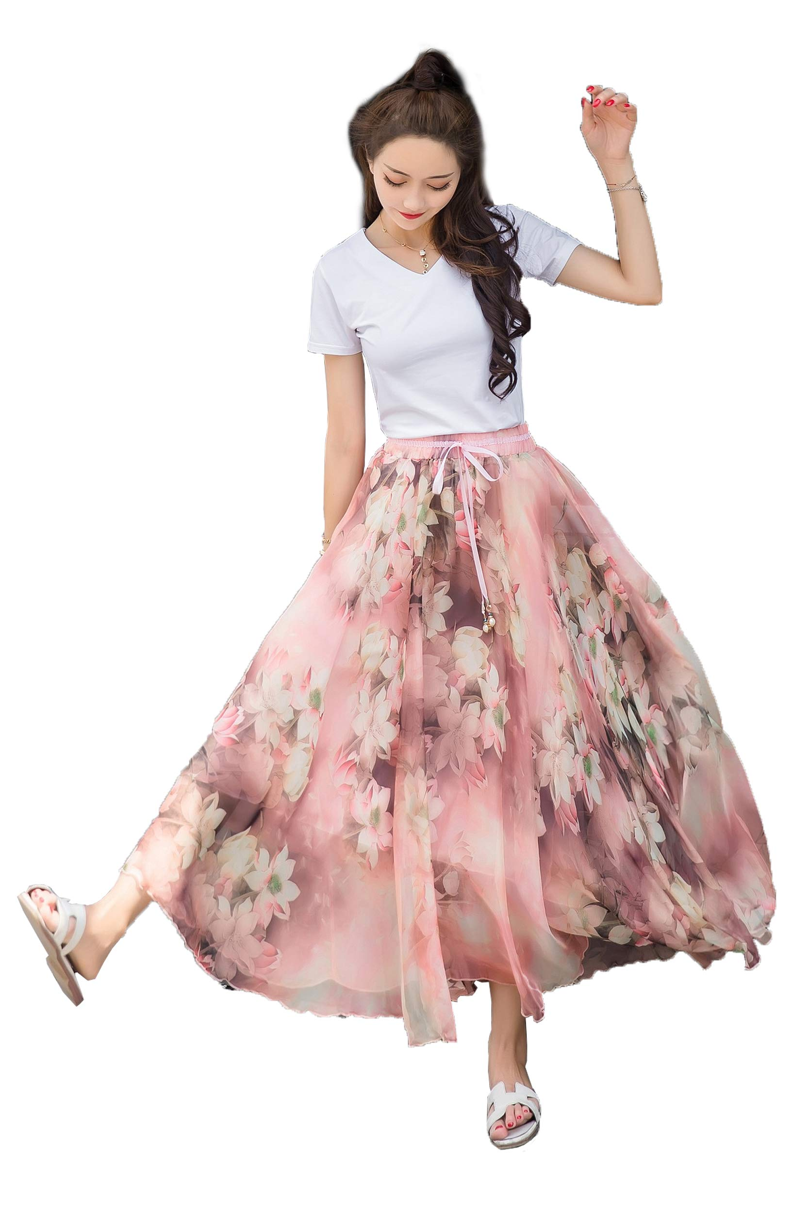 Women's Pleated Chiffon Renaissance Maxi Skirt High Waist Peasant Mexican Long Hippie Indian/Thailand Bottom Dress
