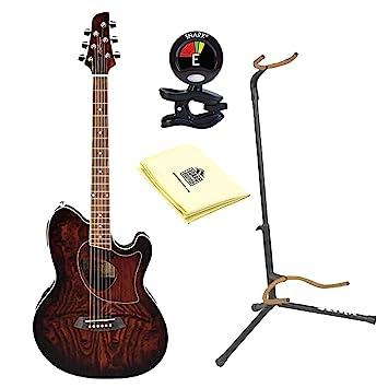 Ibanez Talman TCM50 Cutaway Guitarra Electroacústica guitarra en Vintage marrón Sunburst con Ultra 2445bk Basic - Soporte ...