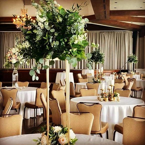EVERBON Pack of 6 Wedding Flower Vase Metal Flower Stand Gold Flower Column Elegant Wedding Table Centerpiece Wedding Flower Decoration Vase 39.4'' Tall
