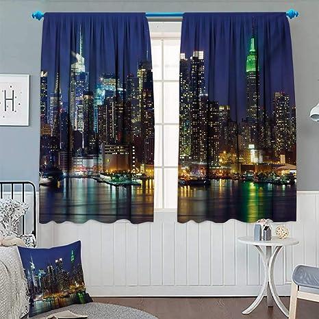 Amazon.com: New York,Blackout Curtain,NYC Midtown Skyline in Evening ...