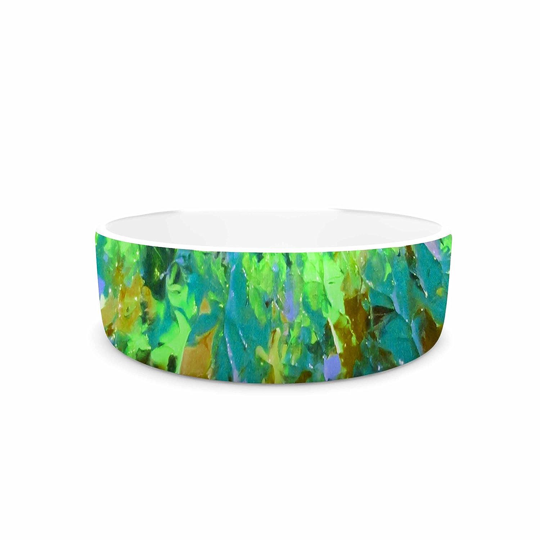 KESS InHouse EBI Emporium Nature's Living Room, Green Green Multicolor Painting Pet Bowl, 7