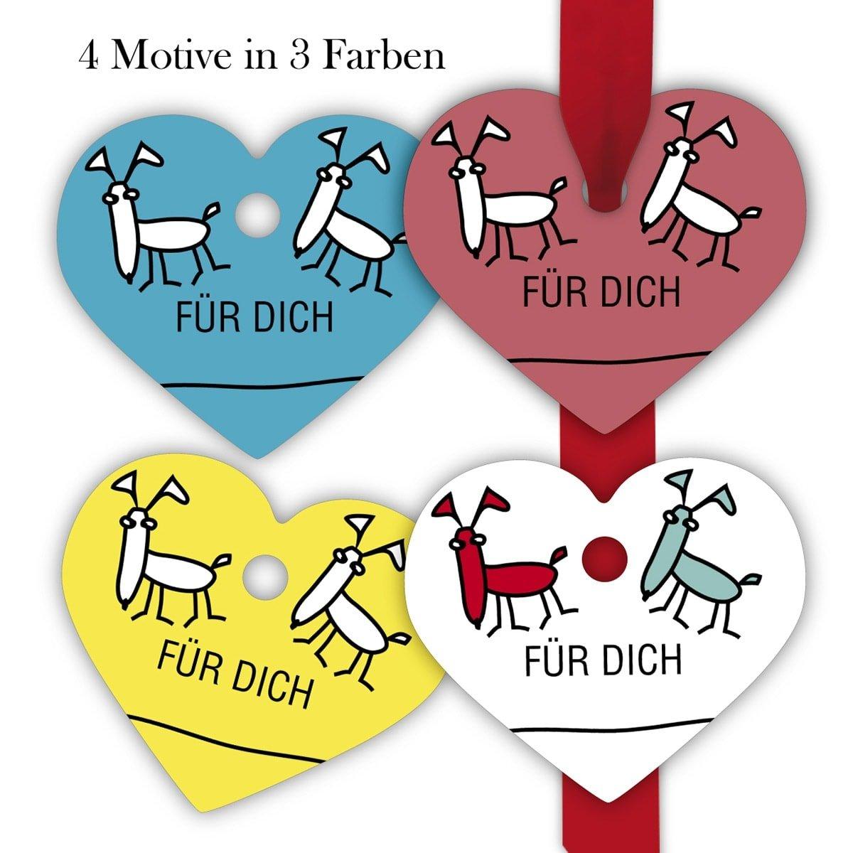 120 Anhänger Kartenkaufrausch 10x12 lustige Hunde Geschenkanhänger   Geschenkkarten   Papieranhänger   Etiketten in Herz form 7 x 6cm  Für