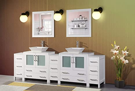 Amazon Com Vanity Art 96 Inch Double Sink Bathroom Vanity Set 2 Shelves 13 Drawers Quartz Top And Ceramic Vessel Sink Bathroom Cabinet With Free Mirrors Va3130 96 W Kitchen Dining