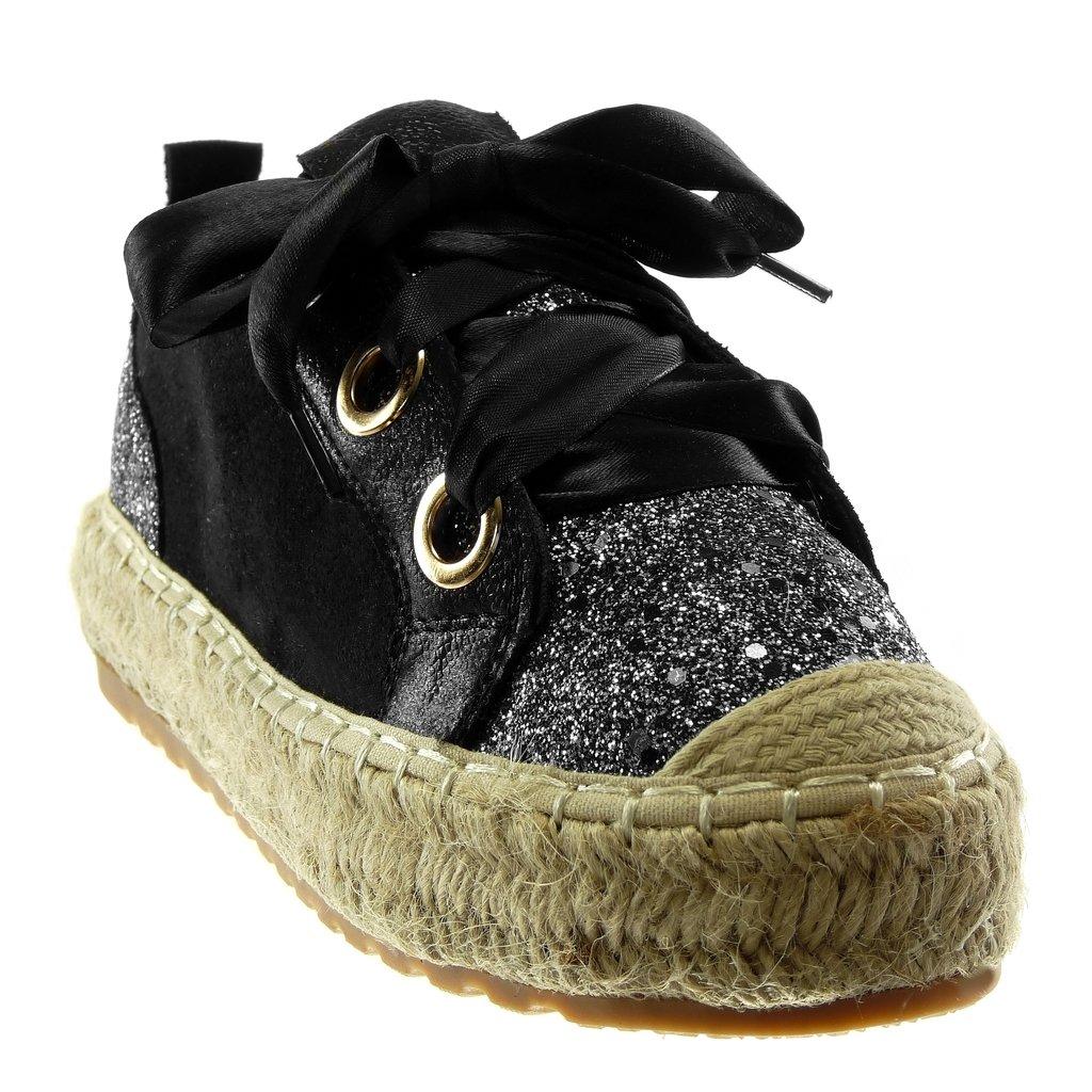 Angkorly Damen Schuhe Espadrilles Sneaker - Sporty Chic - Tennis -  Plateauschuhe - Glitzer - Schnürsenkel 0f2e09aea6