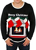 Lighted Fireplace Ugly Christmas Sweater with Tablet Pouch in Black