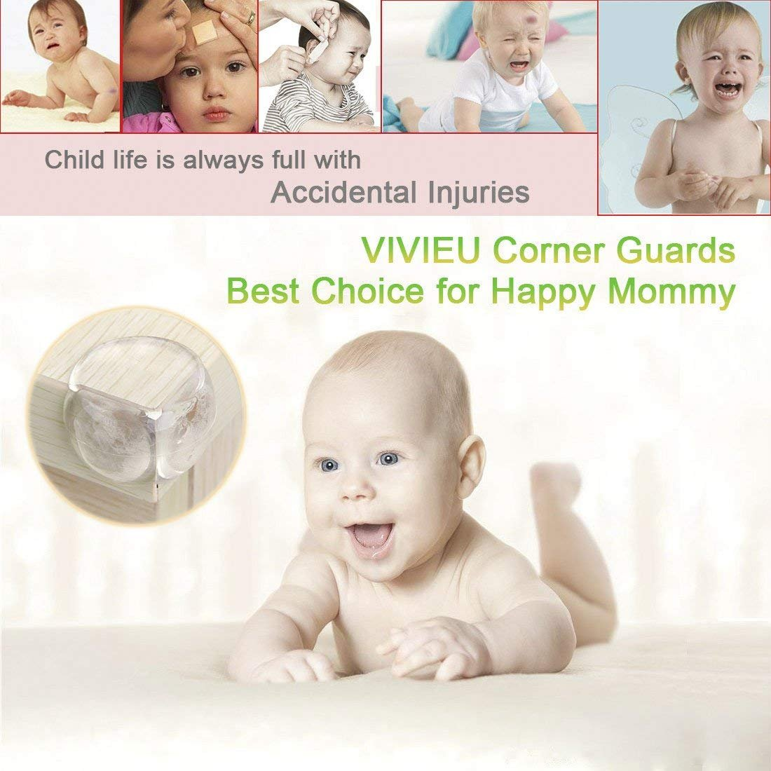 VIVIEU Anti-Collision Furniture Table Bumpers for Kids Prevent from Head Injury and Bruises VIWIEU VIWIEU20170921 Clear Corner Guards Baby Proofing New Adhesive 20 PCS Child Safety Table Corner Protectors Transparent