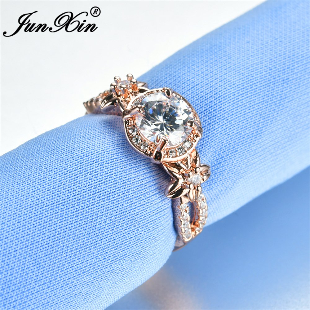 Cherryn Female White Round Zircon Rose Gold Filled cubic zirconia engagement rings