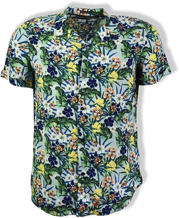Camisa de mezcla hawaiana Guess (verde): Amazon.es: Ropa ...