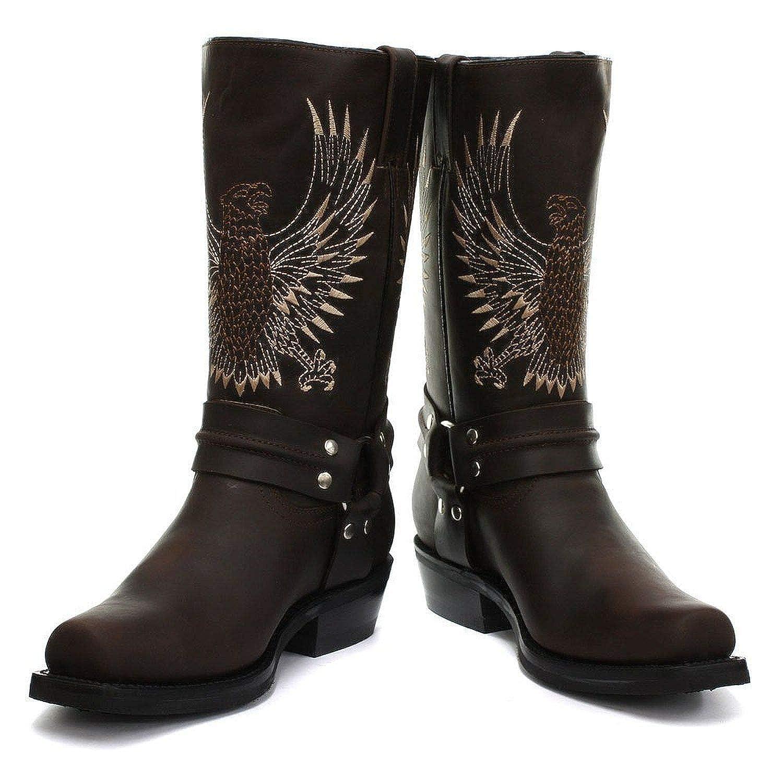 Smart Range Leather Schleifer Bald Bald Bald Eagle braun Leder-Cowboystiefel Slip-On-Square-Toe-Frontstiefel aed780