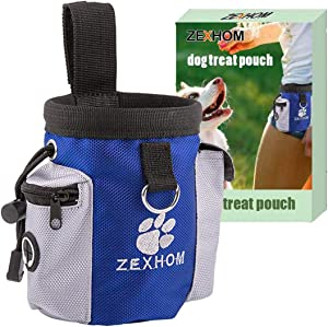 ZEXHOM Dog Treat Pouch, Portable Dog Training Bag with Belt Clip, Drawstring Design Training Pouch with Dog Bag Dispenser, Perfect Food Snack Storage Holder for Puppy Training and Walking