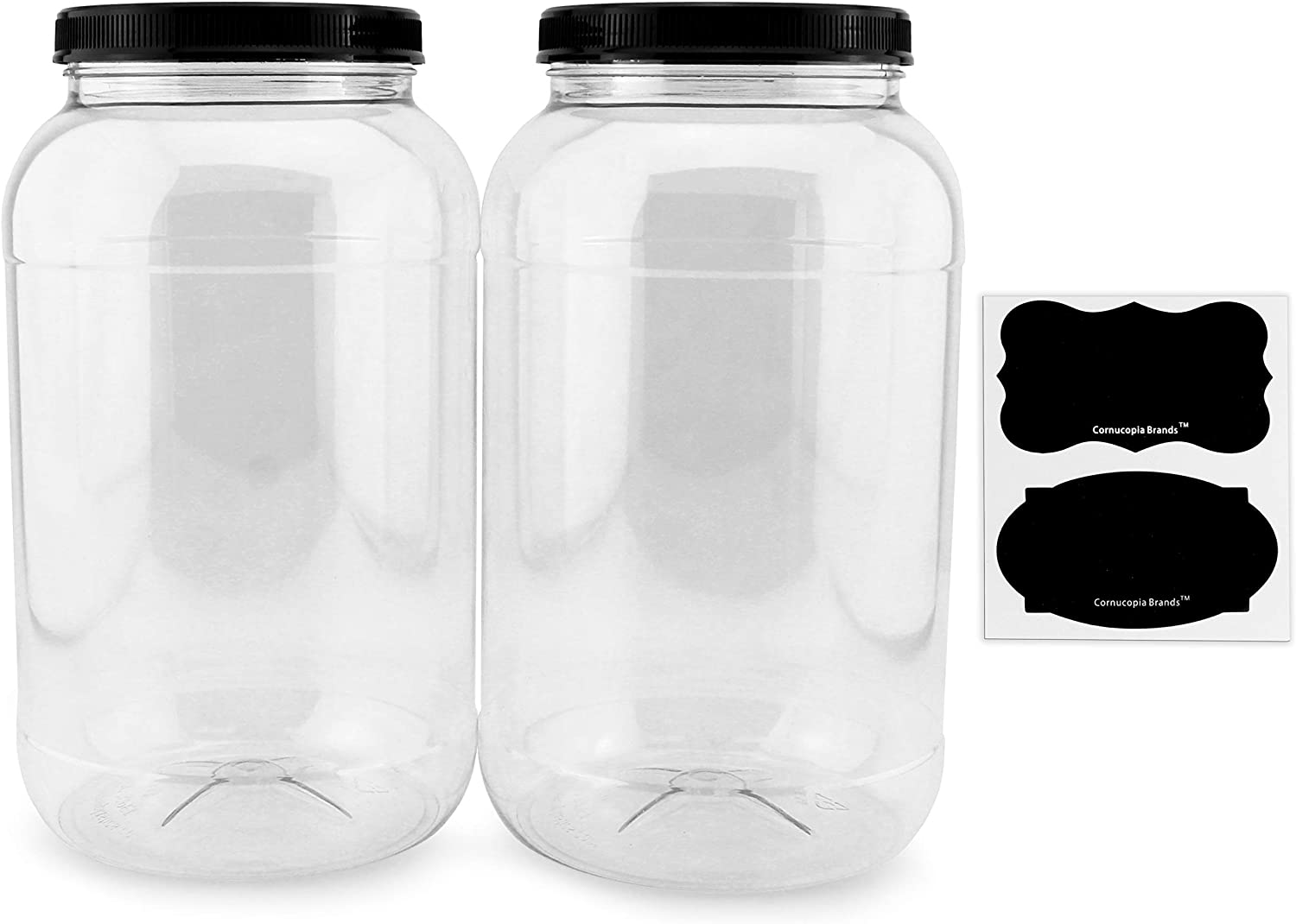 Cornucopia Gallon Plastic Jars (2-Pack); Clear Round Containers with Black Ribbed Lids, BPA-Free 4-Quart Large Size
